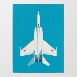 MiG-25 Foxbat Interceptor Jet Aircraft - Cyan Poster