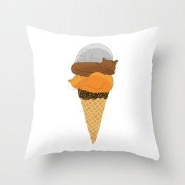 Cat Cream Cone Throw Pillow