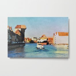 Gdansk Old Town in watercolor Metal Print