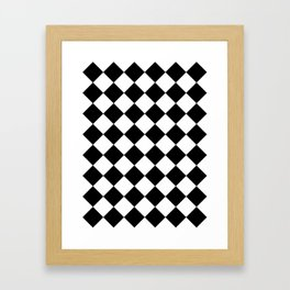 Large Diamonds - White and Black Framed Art Print
