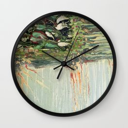 Green Algae - Mixed Media Ceramic Pebeo Glass Beads Abstract Modern Fine Art, 2015  Wall Clock
