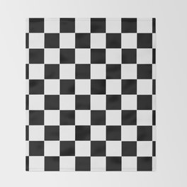 Checker Cross Squares Black & White Throw Blanket