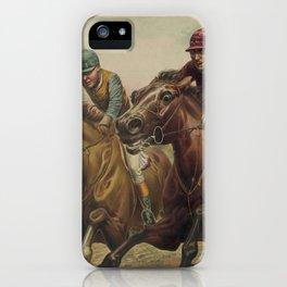 Vintage Finish Line Horse Jockeys Illustration (1891) iPhone Case