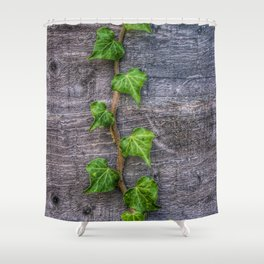 Ivy on Wood Wallpaper Shower Curtain