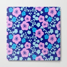Plum Blossoms colorful Japanese floral pattern Metal Print