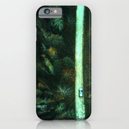 long road mint green aesthetic landscape art altered photography iPhone Case