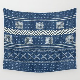 Mud Cloth Geometric Stripe Navy Wall Tapestry