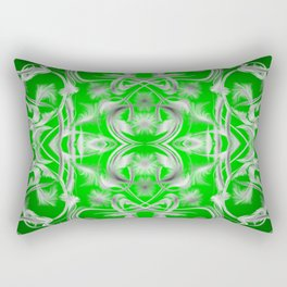silver and green Digital pattern with circles and fractals artfully colored design for house Rectangular Pillow