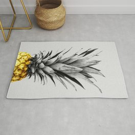 Gray and golden pineapple Rug