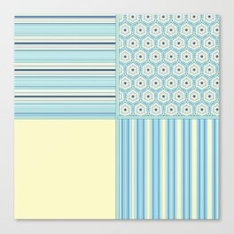 Summer Blues and Yellow Multi Pattern Design Canvas Print
