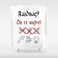 vikings Shower Curtains featuring Raiding 1, Vikings by ZsaMo Design