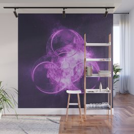 Biohazard sign. Biohazard symbol. Abstract night sky background Wall Mural