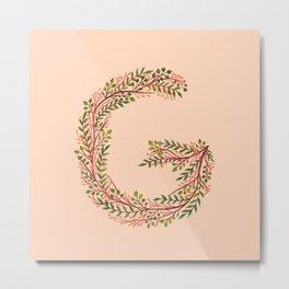 Leafy Letter G Metal Print
