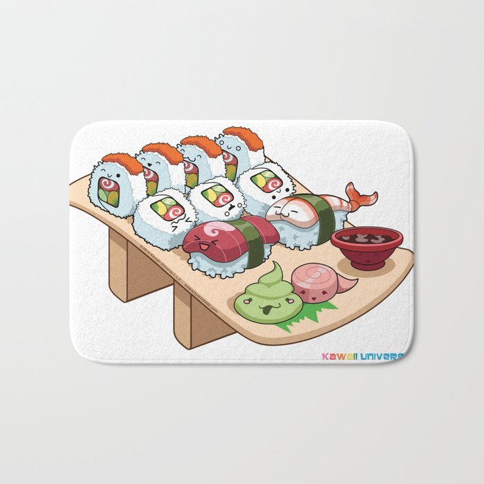 Kawaii California Roll and Sushi Shrimp and Tuna Nigiri Bath Mat