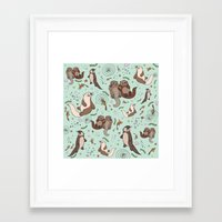 otters Framed Art Prints featuring Sea Otters by Nemki
