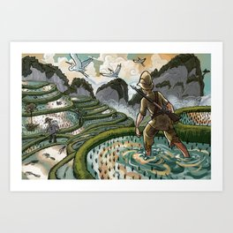 In the Rice Paddies Art Print