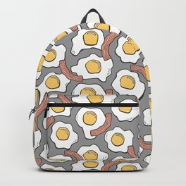 Eggs and Bacon on Grey Backpack