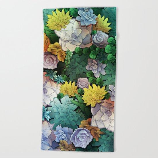 Succulent World Beach Towel
