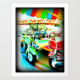 Merry Go Round Motorbikes at the Carnival Art Print