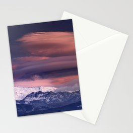 Lenticular clouds. Alayos mountains at sunset. Stationery Cards