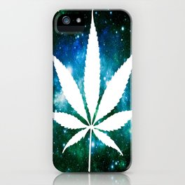 Weed : High Times Green Blue Galaxy iPhone Case