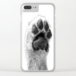 Black and White Dog Paw Clear iPhone Case