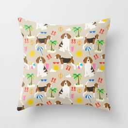 Beagles beagle pattern beach classic socal dog breed pattern palm trees tropical Throw Pillow