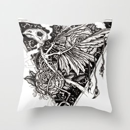 flight, pen and ink Throw Pillow