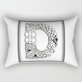 Zentangle D Monogram Alphabet Illustration Rectangular Pillow
