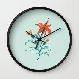 Fresh orange and teal summer flower Wall Clock