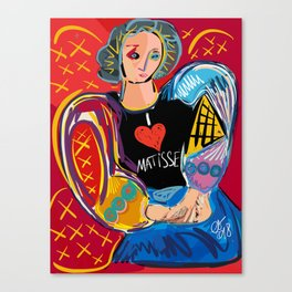"""Portrait of a girl with a shirt """"I Love Matisse"""" Canvas Print"""