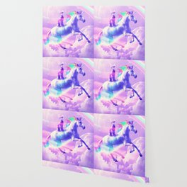 Kitty Cat Riding On Flying Unicorn With Rainbow Wallpaper