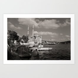 "Travel Photography ""Swim in Ortakoy, Istanbul, Turkey"" Black and white fine art photo print. Art Print"