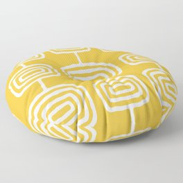 Mid Century Modern Atomic Rings Pattern 771 Mustard Yellow Floor Pillow
