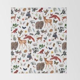 Wild Woodland Animals Throw Blanket