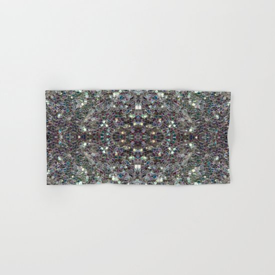 Sparkly colourful silver mosaic mandala Hand & Bath Towel