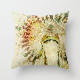 Native American Boho Headdress Throw Pillow