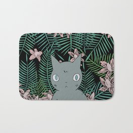 Cat with Palm Tree Leaves Bath Mat