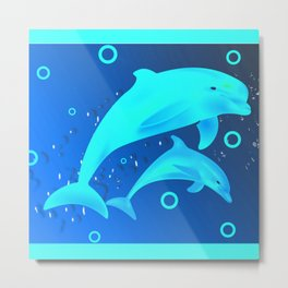 Glowing Dolphins Metal Print