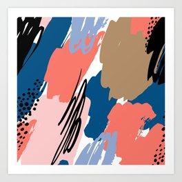 Pastel pink navy blue white abstract brushstrokes pattern Art Print