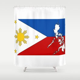 Philippines Flag with Filipino Map Shower Curtain