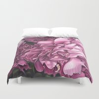 peonies Duvet Covers featuring Peonies by Jada Fitch