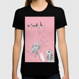 Two Tailed Duck and Jellyfish Baby Pink Deep T-shirt