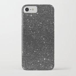 Modern chic elegant trendy faux black glitter iPhone Case