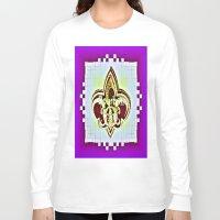 fleur de lis Long Sleeve T-shirts featuring Fleur De Lis Purple  by Tina Vaughn