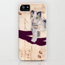 Vintage Fabric Stuffed Cat in Gouache iPhone Case