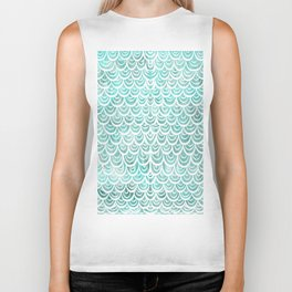 Watercolor Mermaid Turquoise Biker Tank