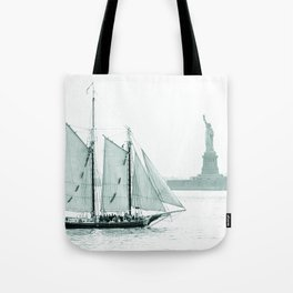 Statue of Liberty with Schooner Tote Bag