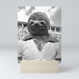 Footballer Sloth playing for Brazil Mini Art Print