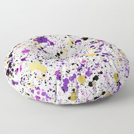 Colorful Paint Splatter Floor Pillow
